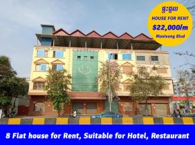 8 Flats House for Rent, Sangkat Boeung Trabek, Suitable for Hotel or Restaurant